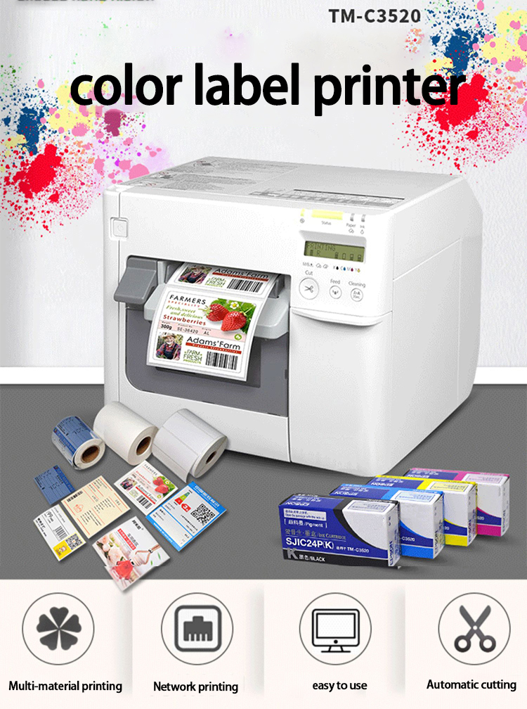 ColorWorks C3520 New Upgrade Inkjet Sticker Printer Roll To Roll Label Printer