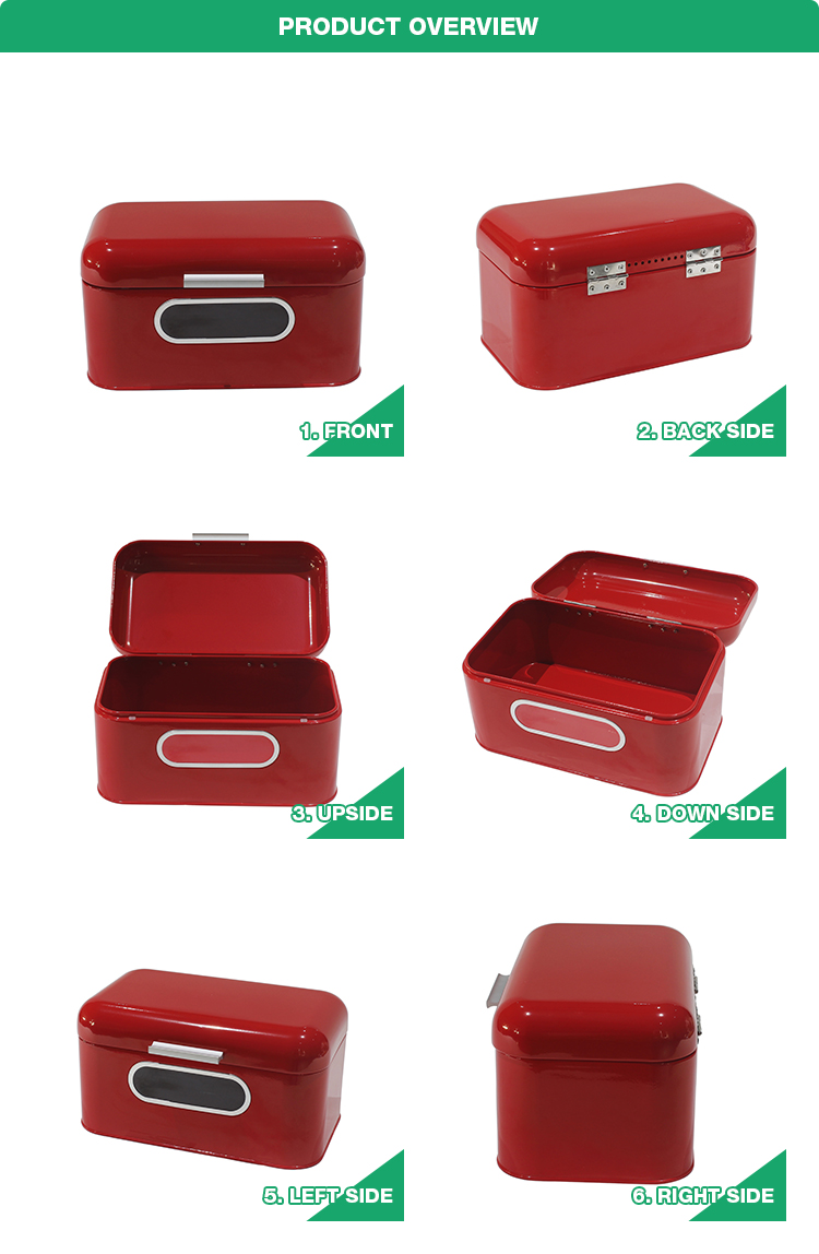 Kitchen Counter Retro Vintage Red Storage Metal Canister Container Bread Box