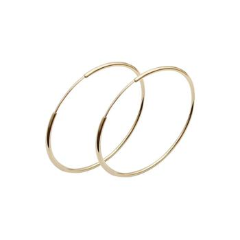 New Style Handmade Round Earrings Circle Jewelry Women Real 14K Solid Gold Hoop Earrings
