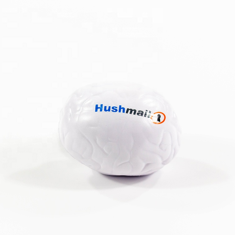 white foam cheap custom logo printed anti stress reliever advertising promotional personalized Brain shaped stress <strong>ball</strong>