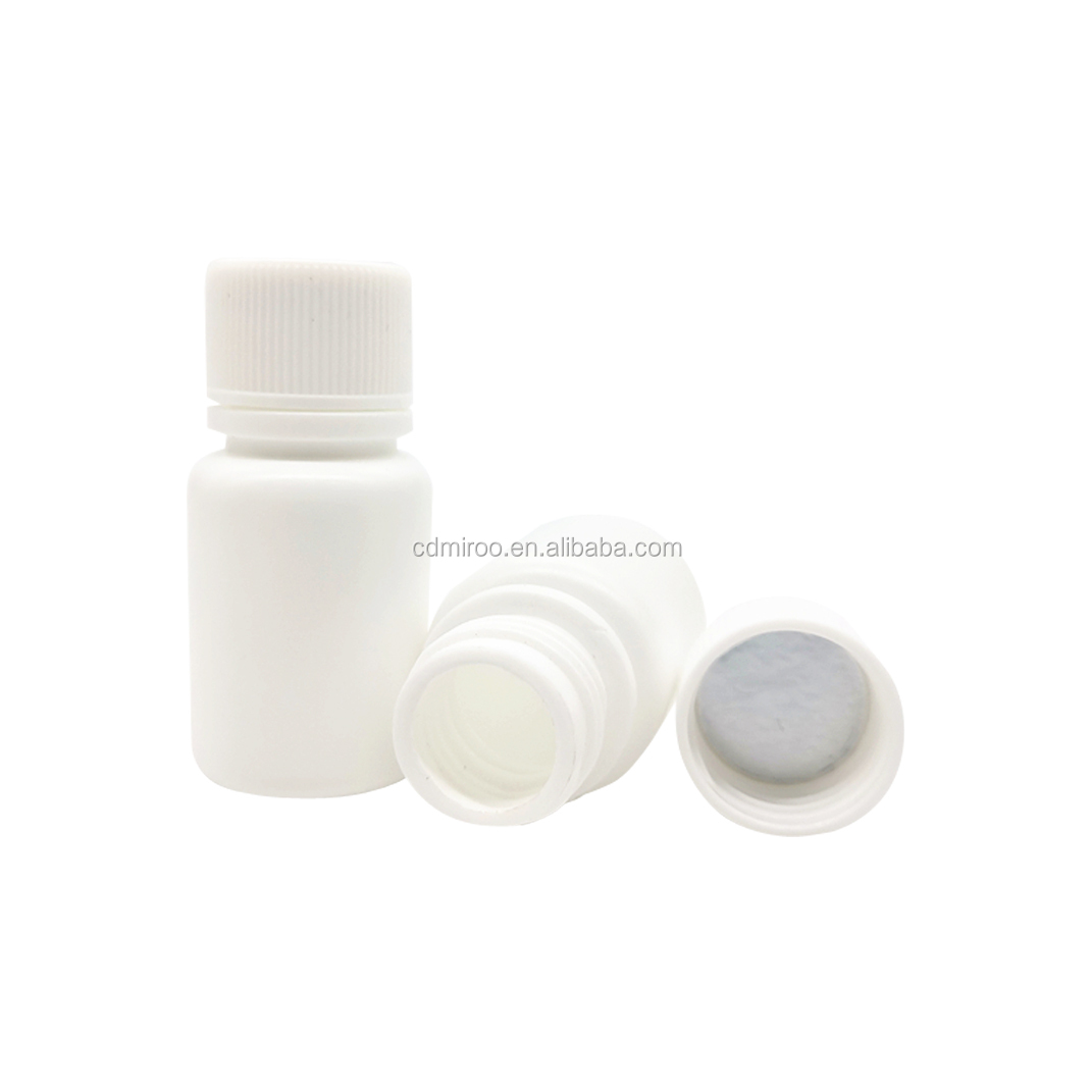 10cc HDPE Tablet Solid Powder Capsule Chemical Vitamin White Packer Bottle with Screw Caps
