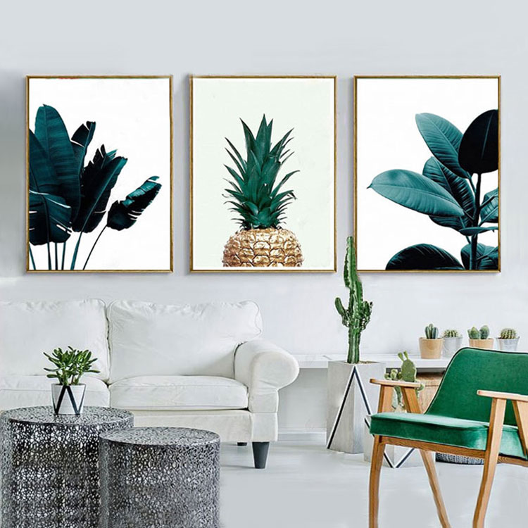 Modern Canvas 3 Piece Nordic Pineapple Painting Green Leaf <strong>Picture</strong> To Print Wall Art Decoration