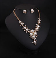 Luxury pearl diamond necklace earrings set temperament female fashion exaggerate jewelry sets