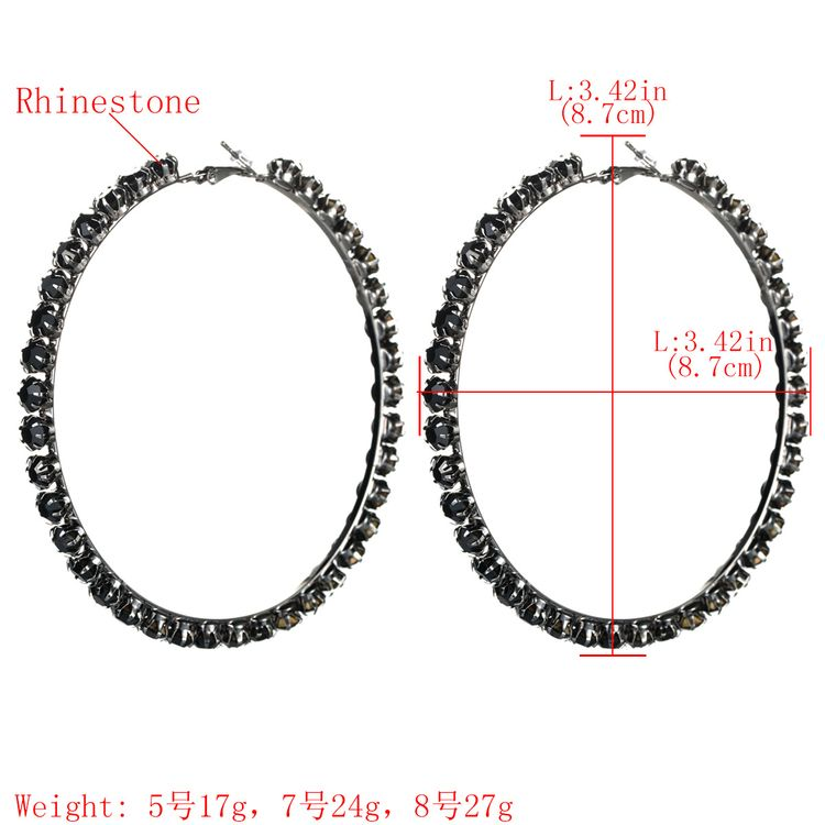 Fashion Female Temperament Black Crystal Diamond Earrings Exaggerated Big Black Hoop Earring