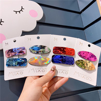 HC523 Children Hair Accessories Triangular Ellipse Laser Pu Leather Princess Hair Clip For Girls Shiny Bb Clips Set For Kids