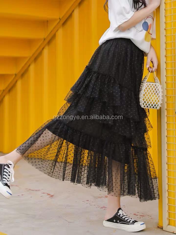 Layered spot women  mesh skirt, gathers women beach skirts,  vacation style