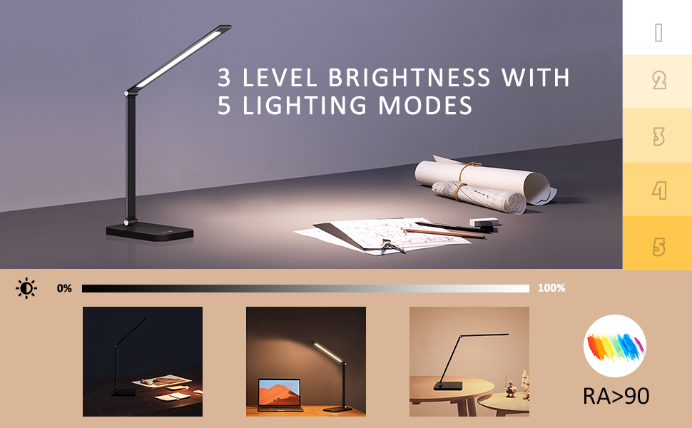 NEW LAUNCHED Wireless Charger 5 Lighting Modes with 3 Brightness Levels  Memory Function  Eye-Caring Office Table Lamp