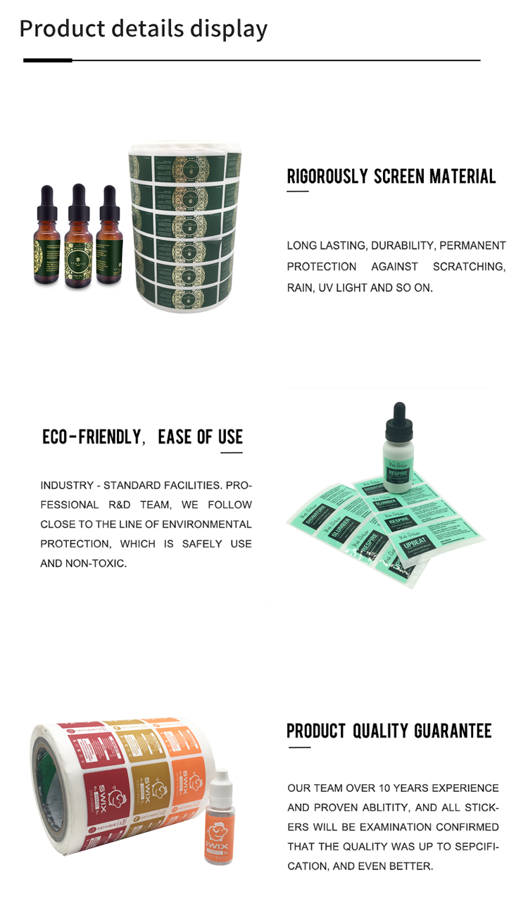 High Quality Custom Printed Vinyl Essential Oil Bottle Labels