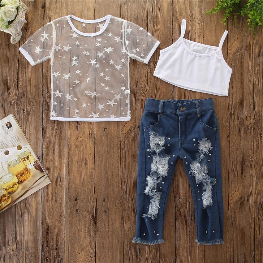2019 New Fashion Toddler Kids Girls Short Sleeve Star T-shirt Tops Hole Denim pants pearl <strong>Jeans</strong> 2PCS Clothing Set
