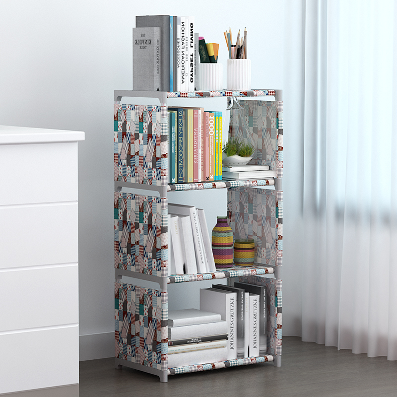 Simple bookshelf waterproof multi-functional wardrobe storage cabinet folding and assembling exquisite bookshelf