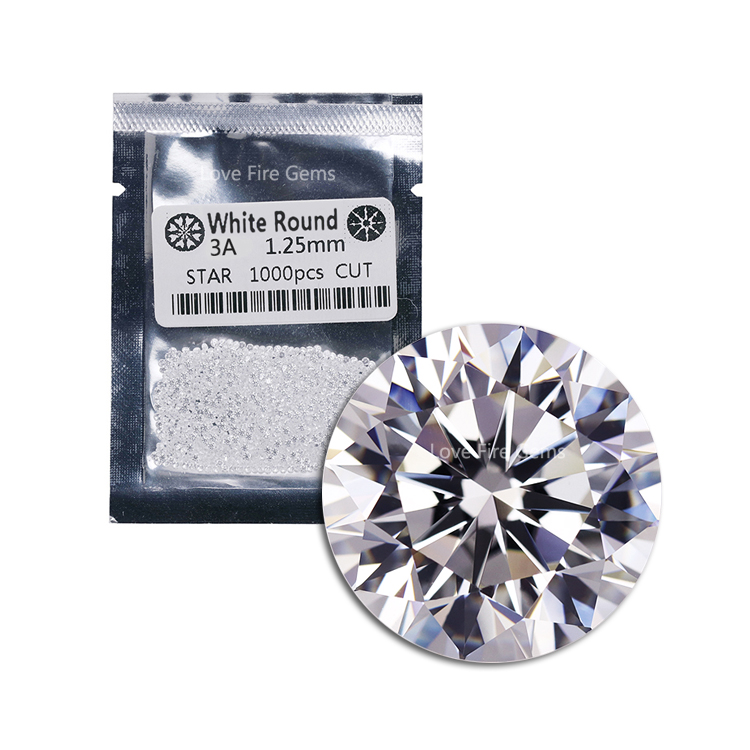 wholesale machine <strong>cut</strong> 3A grade 1.25mm round <strong>cut</strong> cz stone cubic zirconia loose white cz for jewelry making