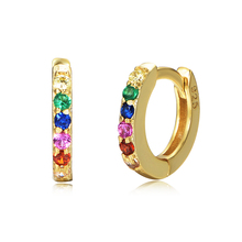 925 Sterling Silver 14K Gold Plated Color Crystal Tiny Small Rainbow Huggie <strong>Earrings</strong>