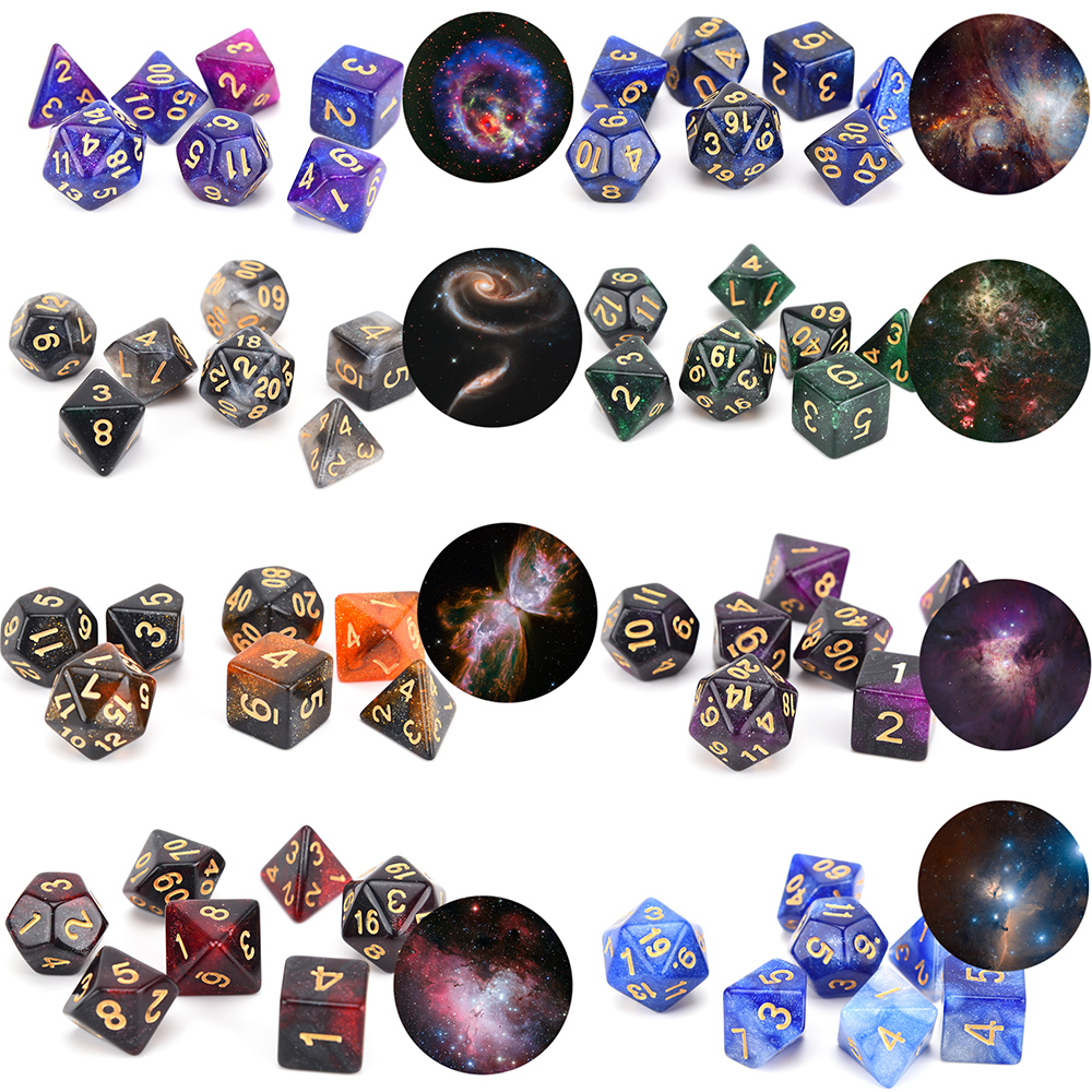 Wholesale high quality starry colored <strong>custom</strong> game acrylic Polyhedral Dice set