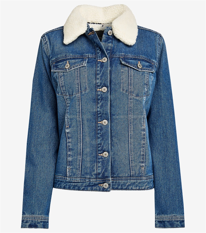 2020 Winter ladies polar berber with fur sherpa fleece lened blue denim jacket for <strong>women</strong>