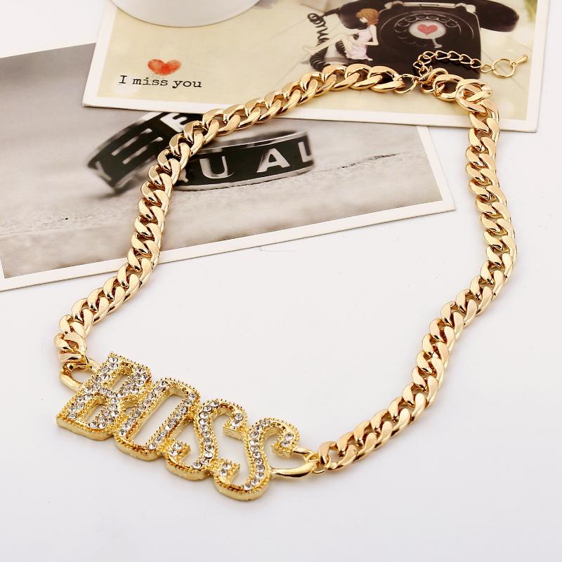 Punk Crystal Letter Boss Pendant Necklaces Gold Silver Color Long Cuban Chain