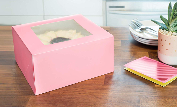 Pink printed wedding cake boxes with window