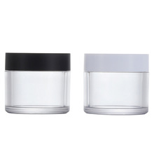 50g Cosmetics Empty Plastic Cream PET Jar White Black Lid Packaging Face Cream Jars Packaging Scrub <strong>Container</strong>