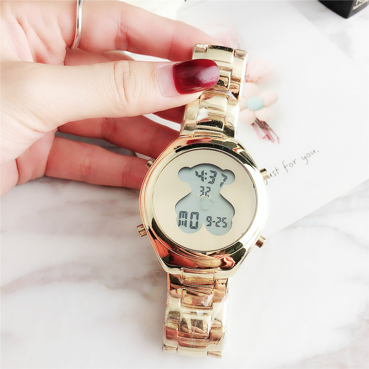 Latest Girls Multi-function Luminous Bear Dial Digital Watch for  ladies