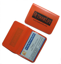 OEM customized 2-fold vinyl card holder, id badge holder, plastic business card holder pvc card <strong>wallet</strong>