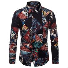 Fashion <strong>Men's</strong> Clothes Hot Selling Floral Printing Long Sleeve Cotton Hemp Men Casual <strong>Shirts</strong>