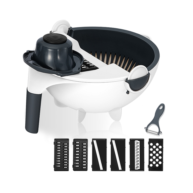 Vegetable Slicer with Drain Basket 12 in 1 Vegetable <strong>Cutter</strong> and Shredder Kitchen Multipurpose Grater with Guard