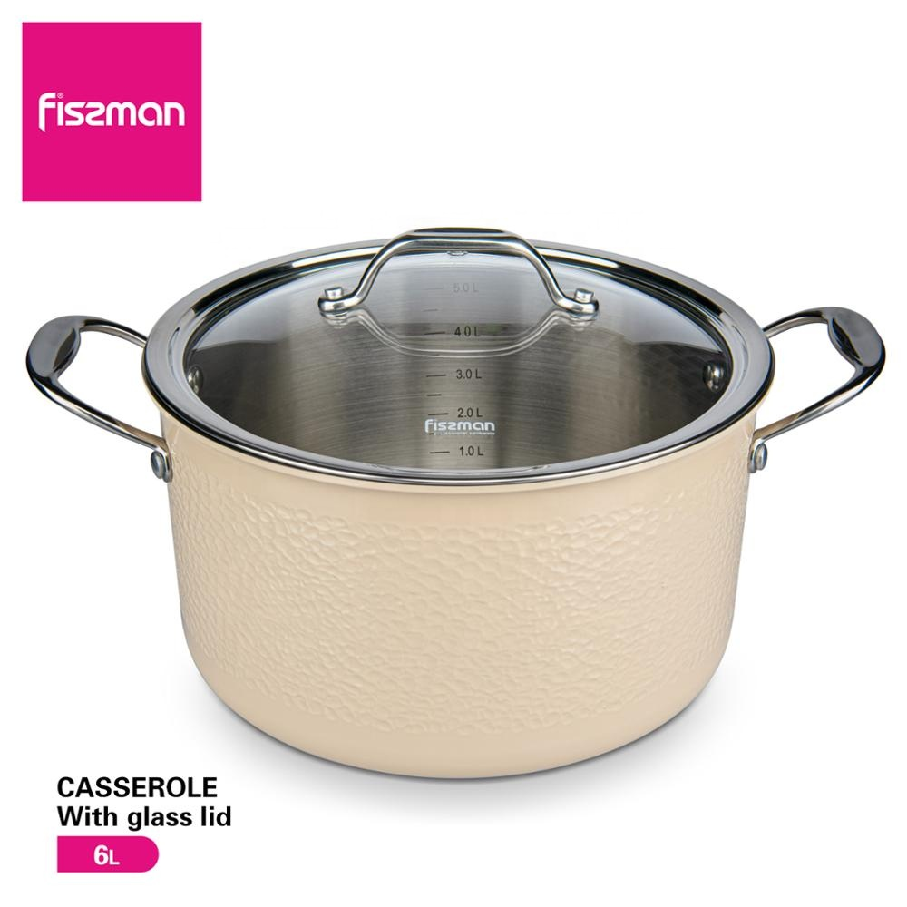 FISSMAN Hot Sale Eco-Friendly LFGB  24cm Induction 304 Stainless Steel Cookware Casserole With Glass Lid Soup Stock Pots