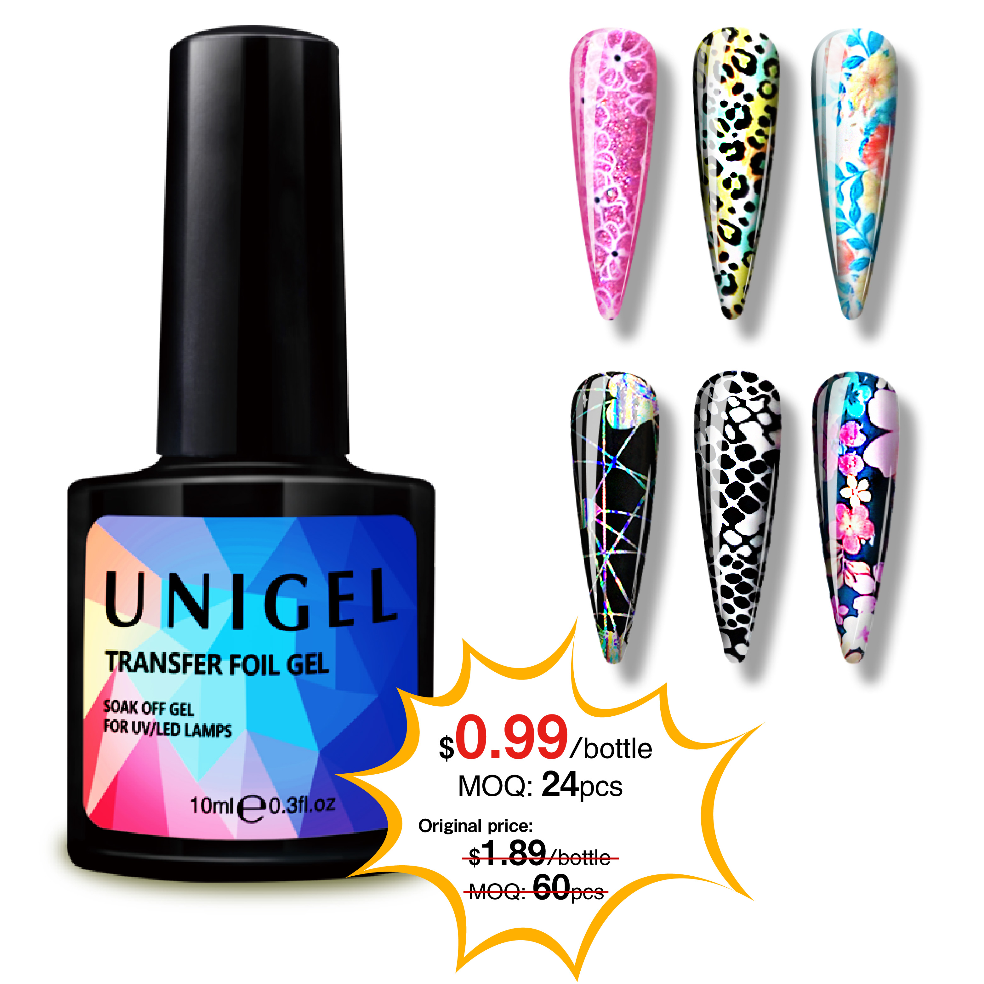 Unigel 2019 new professional <strong>gel</strong> foil for nail polish foil transfer <strong>gel</strong>