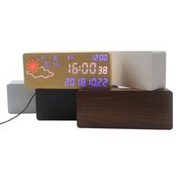 2020 new arrival intelligent weather forecast LED Wooden Desk Alarm Clock weather station Voice Control mdf Wood Table Clock