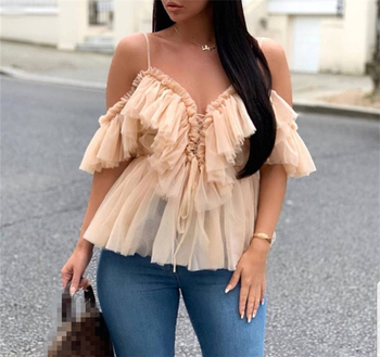 Wholesale Bulk Plus Size Women Sexy Straps Chiffon Shirt Blouse