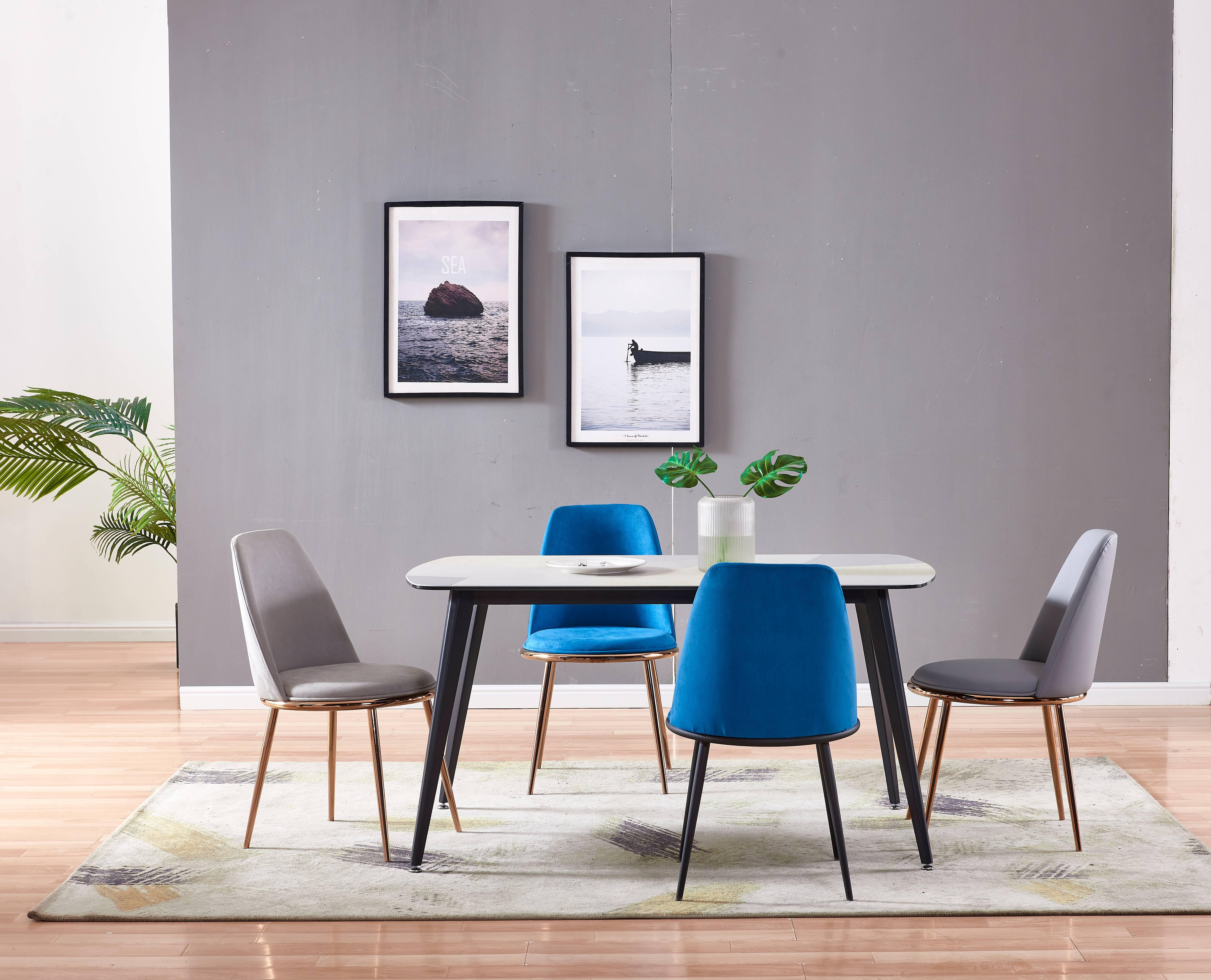 Blue metal leather dining chaits with arms