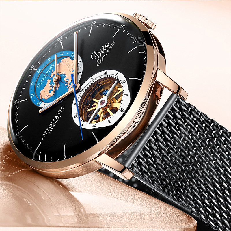 2020 luxury tourbillon custom stainless steel watches men brand with mechanical automatic movement Wristwatches relogio