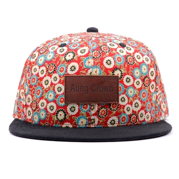 hot sale custom you own logo printing floral snapback cap