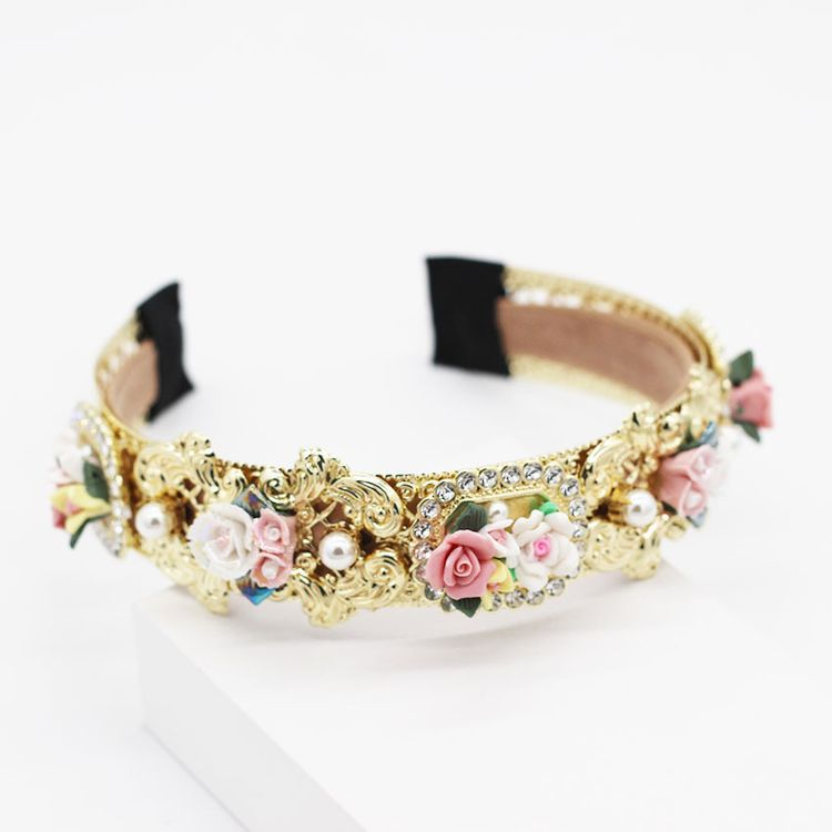 European and American Baroque Retro Pearl Metal Headbands Colorful Geometric Porcelain Flower Luxury Headband