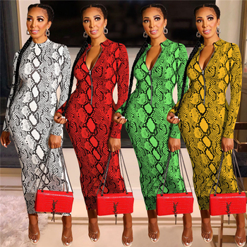 A91239 Women fall clothing Sexy fashion casual lady long sleeve printing bodycon club maxi long dress for zipper dress