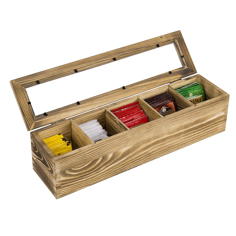 8-Compartment Vintage White Wood Tea Bag Storage Box with Lid