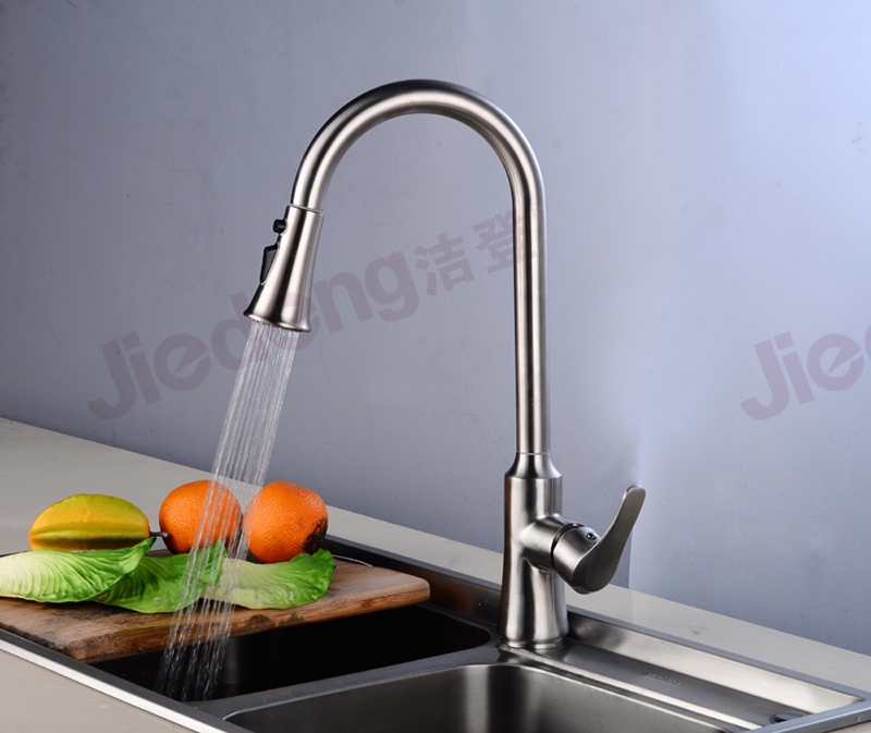 Pull-out spray lead free faucets 304 stainless steel kitchen sink taps (SS61)
