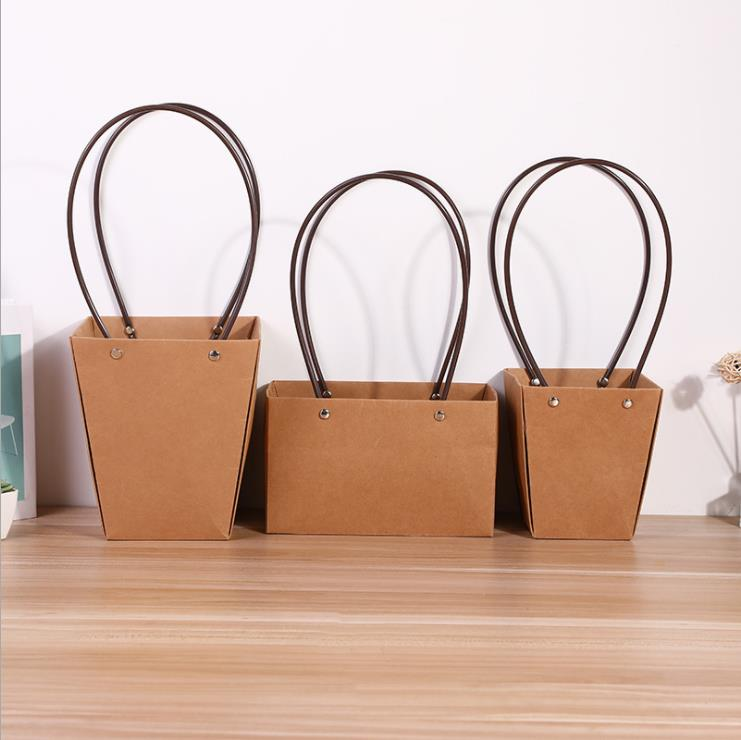 square bottom paper bag waterproof brown kraft paper gift bag for flower