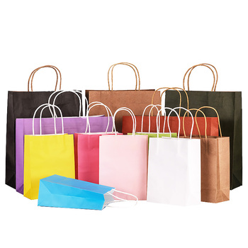 Factory Direct Customize Own Logo Various Color Kraft Paper Shopping Bags with Handles