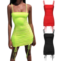 Commuting Style Bodycon Drawstring Sling Dress Fashion Design Women Sexy Tube Top Dress