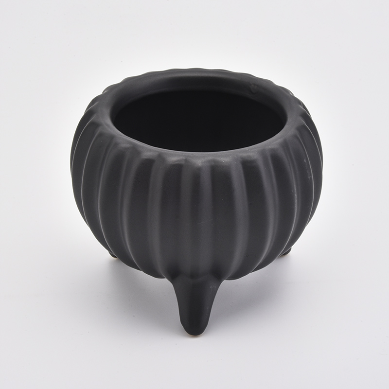 Footed Ceramic Candle Holders Black Pumpkin Home Decoration