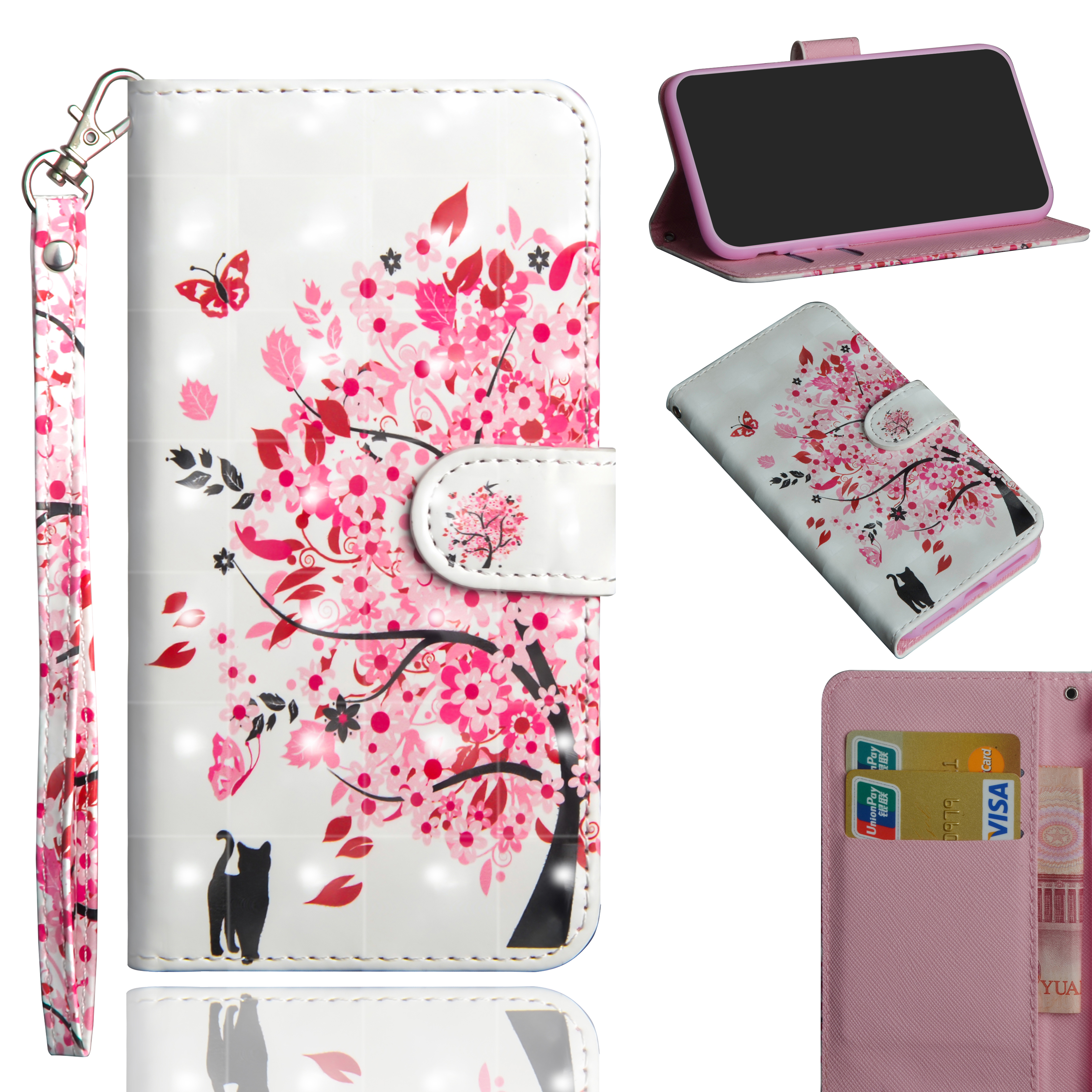 3D Colored Painting PU Leather Flip Lanyard Wallet <strong>Phone</strong> Case For LG K30 2019