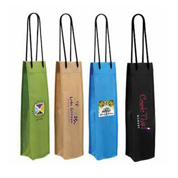 Customized Non-Woven Single Wine Bottle Tote Bag, Full Color Digital