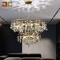 JC LIGHTING gold chandelier crystals modern ceiling lights luxury house European style round pendant designs for living room