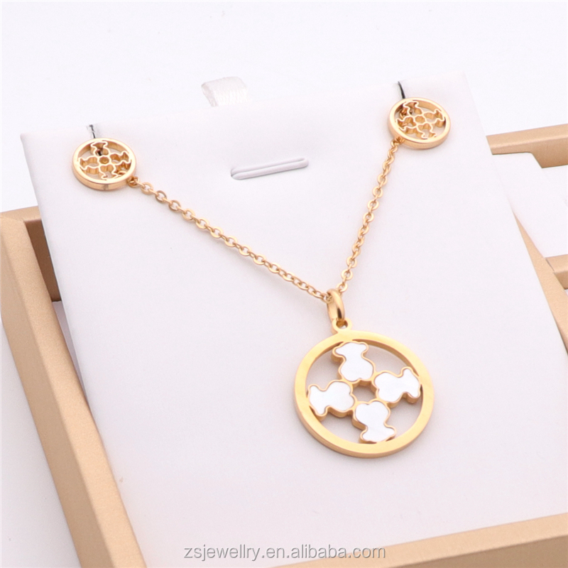 Girls earring Latest Fashion Jewellery Stainless Steel Necklace Set High Quality Fashion Earring