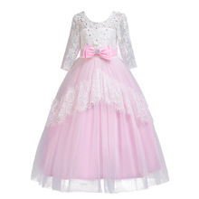 <strong>Girl's</strong> birthday Wedding <strong>Dresses</strong> Christmas Prom <strong>Dresses</strong> Lace middle sleeve trailing <strong>dress</strong> with the back of the back