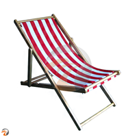 Wooden Folding Stripe Color Fabric Beach Chair Leisure Deck Chair Camping Portable Adult For Beach Leisure
