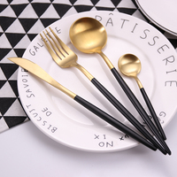 Wedding Reusable Restaurant Matte Gold Plated Stainless Steel Cutlery