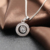 Fashion Round Shape Necklace Pendant, Rhodium Plating Sterling Silver Pendant
