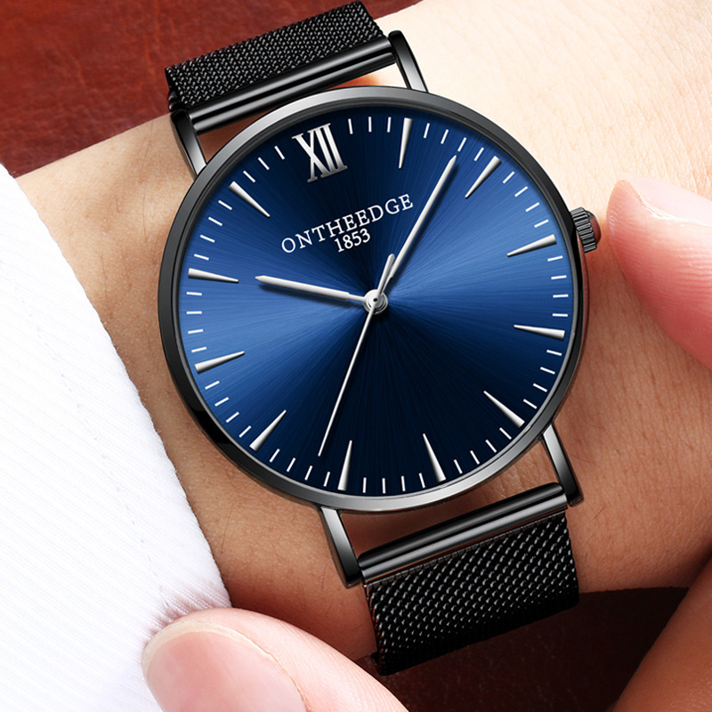 wholesale stainless steel mesh with quartz men's brand wrist simple ultra-thin waterproof watch