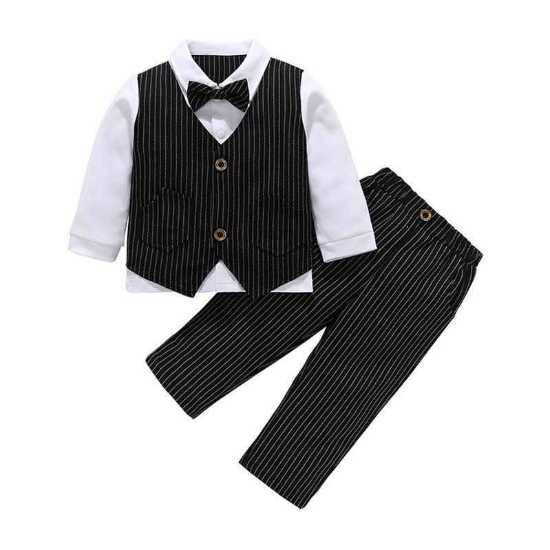 Young Fashion Simple Long Sleeve Formal Overall First Communion 2 Piece Boy Suit Set